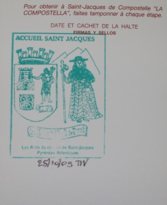 The first stamp received at Saint-Jean-Pied-de-Port